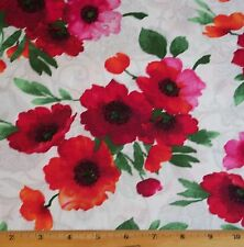 Poppy Floral Timeless Treasures Fabric by Yard 100% Cotton Tribeca flowers