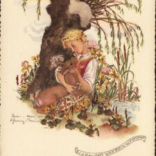 """BROTHER & SISTER"" CHILDREN FAIRY TALE,ANNA MARIE TORINUS,GERMANY,OLD POSTCARD"