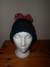 Knitted hat with two pom pom, festival, football, England,france rugby colours