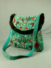 Suede Leather Messenger Bag Flower Embroidery Handbag Crossbody Purse Teal Green