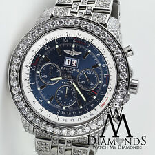 Breitling Bentley 6.75 Neptune Blue Stainless Dial/Jubilee Diamond Watch A44362