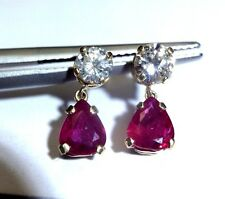 14K Yellow Gold 1.50CTW Natural Ruby Pear Drop Diamond Earrings