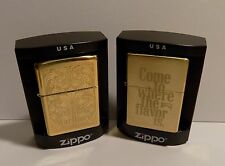 Marlboro Zippo Lighter Lot #5 Collection of 2 with Brass + Floral Cases NEW