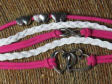 Hearts cuori INFINITY MULTISTRATO Bianco Rosa E Argento Bracciale * Regalo Ideale! *