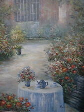 Impressionist Oil Painting Pretty Country Georgian Flower Garden & Afternoon Tea