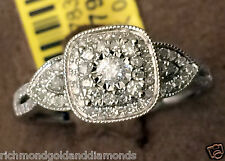 14k White Gold Vintage Cathedral Round Halo Split Shank Diamond Engagement Ring
