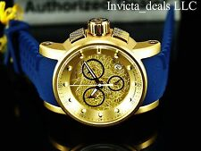 Invicta Men S1 Yakuza Dragon Quartz Chronograph 18K Gold IP Blue Silicone Watch