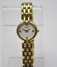 Raymond Weil Geneve ladies 18k Gold GE Sapphire Crystal White Dial Watch $695