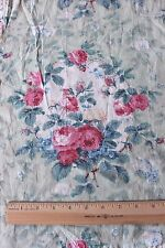 Antique French 19thC Old Rose Chintz Fabric Textile On Turquoise/Celadon Ground