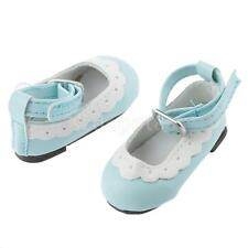 Scallop Trim Ankle Strap Shoes for 1/4 BJD Doll AOD Luts DOD MSD Light Blue