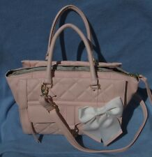 Betsey Johnson Handbag Satchel Heart Clip Blush Pink