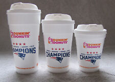 3 Sizes of Dunkin Donuts New England Patriots 4 Time Super Bowl Champions Cups