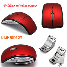 Foldable Fold 2.4Ghz Wireless Blue Optical Mouse Mice USB Receiver for PC Laptop