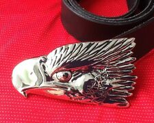 3D VULTURE GOLDEN BOLD EAGLE HEAD HAWK FALCON RAPTOR KITE BUCKLE LEATHER BELT