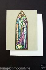 Vintage Unused Mainzer Xmas Greeting Card Pretty Stained Glass Madonna & Child