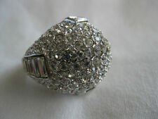 CLIVE KANDEL Magnificient Costume Jewelry Sterling Pave Crystal Dome Ring Size 6
