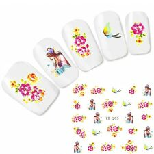 Nagel Sticker Nail Art Aufkleber Japan Manga  Flower Schmetterling Water Decal
