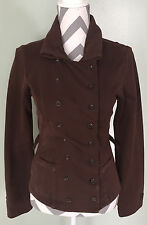 CABI Womens Brown Double Breasted Cotton Fitted Military Top Coat Jacket Size XS
