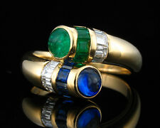 MAYORS BIRKS SIGNED NATURAL 1.96ctw EMERALD SAPPHIRE DIAMOND WRAP 18K GOLD RING