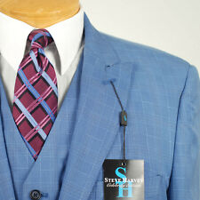54L STEVE HARVEY French Blue Checked Suit - 54 Long Mens Suits - SB06