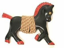 RARE Vintage Bakelite Black Horse Pin/Brooches Hand Painted Rope Accent Large