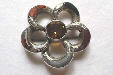 Victorian Handmade, Silver, Citrine & Agate 5 Petal Flower Scottish Brooch