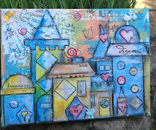 "Original, mixed media canvas ""Welcome Wee One"" 9"" x 12"" Whimsy Village Scene"