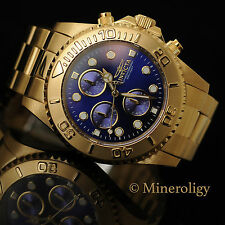 Invicta Mens Pro Diver Chronograph 18k Gold Plated SS Blue Dial Quartz Watch NEW