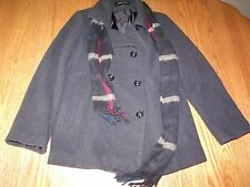 NEW Womens LONDON FOG WOOL Coat TRENCH PEACOAT GRAY CHARCOAL SCARF RED LARGE L