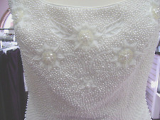 NWT WHITE WEDDING DRESS W/PEARLS SEQUINS SIZE 12 A-LINE SLEEVELESS