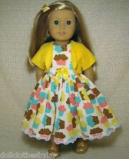 """Doll Clothes Cupcakes Dress Shrug Hat 4pc fits American Girl 18"""" *X"""