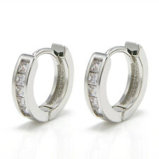 2Pcs Women Men's Stainless Steel Rhinestone Crystal Huggie Hoop Studs Earrings