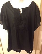 New Retro Converse Black Pintuck Pleated Metal Button Babydoll Style Top 3x