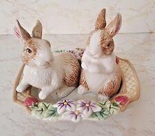 Fitz & Floyd Botanical Bunny Salt & Pepper Shakers W/Matching Tray