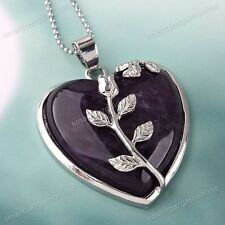 Natural Amethyst Stone Rose Flower Wrap Crystal Heart Bead Pendant For Necklace