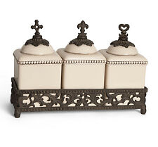 The GG Collection Acanthus Leaf 3 Piece Cream Ceramic & Metal Small Canister Set