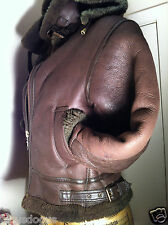 TOEDEM REAL SHEEPSKIN BROWN LEATHER AVIATION JACKET SZ-XS/28 detachable hood