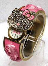 SANRIO HELLO KITTY WHITE DIAL GOLD-TONE SS PINK ROSE ACCENTS WATCH HK1728S