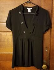 Six Degrees Of Separation Black Button Front Tie Back Top Juniors XL
