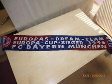"""FC Bayern München Original Fan Schal """"DREAM-TEAM EUROPA - CUP SIEGER 1996"""" NEU"""