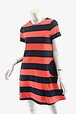 LISA PERRY Black/Red 100% Wool Knit A-Line Rugby Stripe Dress w/Seam Pocket- US4