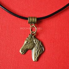 "Vintage Bronze Horse Charm on an 18"" Real Leather Necklace - Ladies Girls Gift"