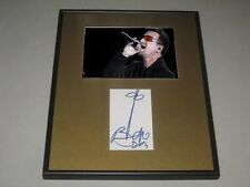 Bono U2 Signed Framed Matted Index Card Hologram COA RARE HAND DRAWING