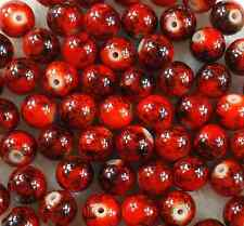 100Pcs6mm Red Lampwork Round Glass Spacer Loose Beads Free Ship