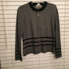 Sweater San Remo Laura Knits Zip Front Black/White Trim Size S Jacket Top Women