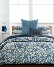 CALVIN KLEIN Bondi 3PC Queen Duvet Cover Set Cotton Sateen, Blue, 250TC  -- NIP