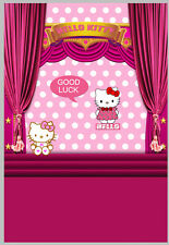 5x7FT Hello Kitty Pink Curtain Stage Steps Luck Photo Studio Background Backdrop