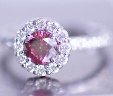 1.5 Carats HPHT Pink Round Diamond Solitaire Halo Ring in 14K WG ASAAR DEAL