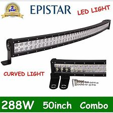 50in 288W EPISTAR FLOOD SPOT COMBO CURVED LED LIGHT BAR DRIVING OFFROAD LAMP SUV