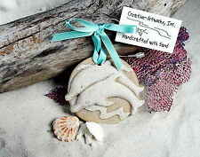 JUMPING DOLPHINS PLAYING IN THE WAVES BEACH  SAND CHRISTMAS ORNAMENT